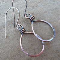 Copper Earrings, Rustic Copper Hoops, Autumn Jewelry, Oxidized Mixed Metal