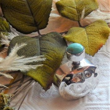 Vintage Taxco Signed Sterling Silver Turquoise Perfume Bottle