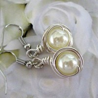 Ivory Cream Pearls Wire Wrapped Earrings by pleasurearts on Etsy