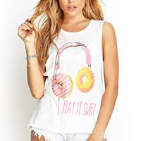 FOREVER 21 Play it Sweet Tank Ivory/Pink