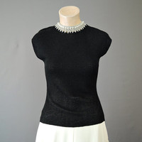 40s Black Rayon Sweater with Pearls & Silver Crochet, XS fits 32 - 33 inch bust, Vintage 1940s Knit Top