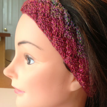 Knit Entrelac Earwarmer, Headband in Pink to Green - Child to Tween to Teen