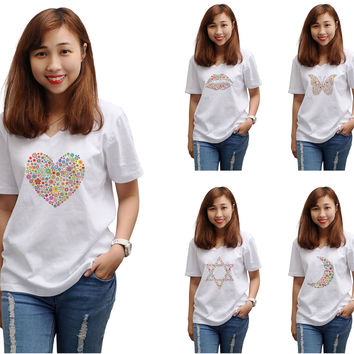 Women Multicolored Icons Printed V-neck Short Sleeve T-shirt WTS_16