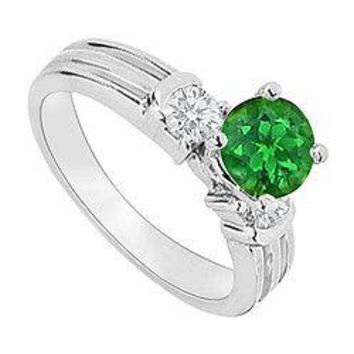 14K White Gold : Emerald and Diamond Engagement Ring 0.75 CT TGW