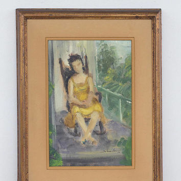 Vintage Painting - 1970's Southern Portrait Woman on Porch, Framed Signed by Artist