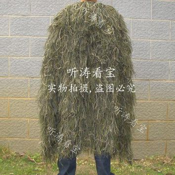 High Quality 3D Jungle Camouflage Clothing Poncho Green Cotton Polester Cloak Ghillie Suit for Hunting Fishing and Hiking