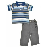 "Akademiks ""Blue Stripped Dark Grey Denim"" Newborn Boys 2Pc Pant Set"