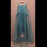 Frozen Queen Elsa inspired costume gown pageant dress Custom made  0-11yrs girl's sizes