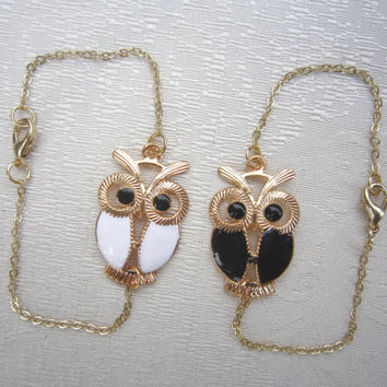 Gold Night Owl Bracelet, Owl Anklet, Personalized Bridesmaids Jewelry, Unique Friendship  Birthday Graduation Gifts, Trending Accessories