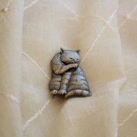 Vintage Pewter Cat Pin Brooch