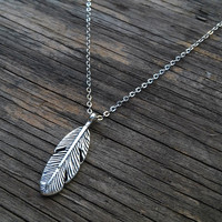 Silver Feather Necklace, Long Tribal Necklace, Minimalist Boho Necklace, Feather Necklace, Eagle Feather Necklace, Long Feather Necklace