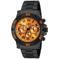 INVICTA Specialty Mens Chronograph - Black Case & Bracelet - Orange Dial - 100m