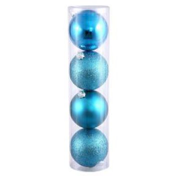 4ct Turquoise Assorted Finishes Assorted Finishes Ball Shatterproof Christmas Ornament Set