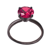 Ruby Ring, Sterling Silver with Ruby Gemstone, Silver Solitaire Ring