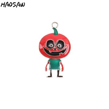 Fashion DIY Jewelry 1pcs With No Chain Alloy Chunky Pendant Making Pumpkin Character Pendant For Kids Halloween Gift KQRP-503862