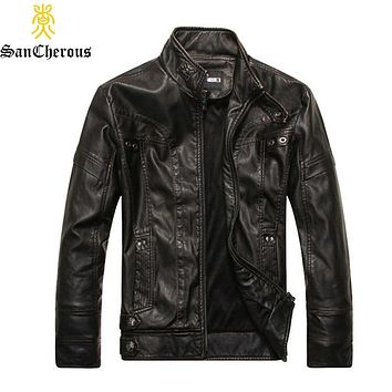 2019 Spring Autumn Men leather Jacket Stand Motorcycle PU Men Coat Size M-3XL