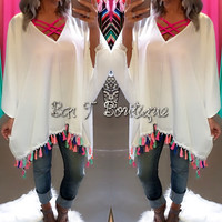 Colorful Tassel Poncho