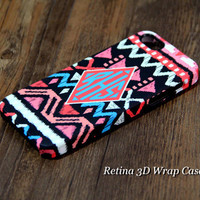 Coral Pink Ethnic Striped Monogram iPhone 6s 6 Plus 5S 5C Plus Soft Rubber Case #967