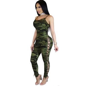 Womens Hollow Out V-Neck Camouflage Print Jumpsuit Ladies Sexy Skinny Jumpsuits Evening Night Out Party
