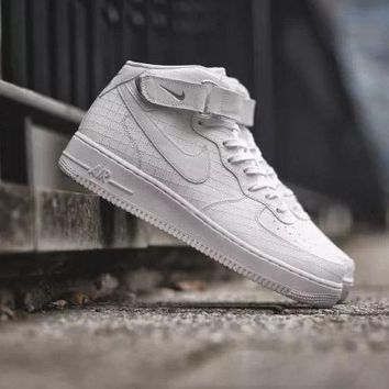 Nike Air Force 1 Mid Pattern White For Women Men Running Sport Casual Shoes Sneakers