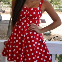 RED WHITE POLKA DOT PLEATED COTTON SATEEN ROCKABILLY RETRO 50s DRESS S M L