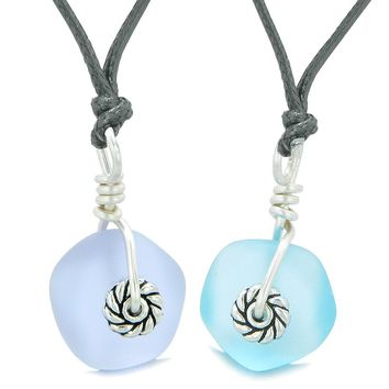 Twisted Twincies Cute Small Sea Glass Lucky Charms Love Couples BFF Set Sky Blue Pastel Purple Necklaces
