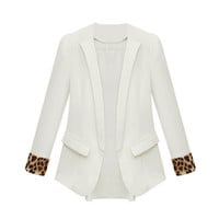 White Leopard Cuffs Long Sleeves Chiffon Blazer  Coat