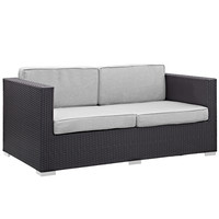 Convene Outdoor Patio Loveseat in Espresso Gray