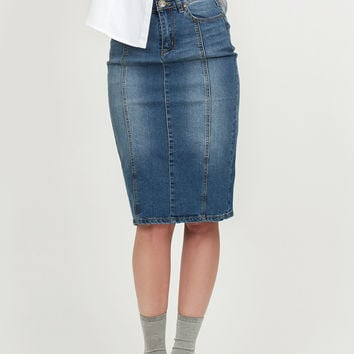 LE3NO Womens Fitted Pencil Denim Jean Skirt with Pockets