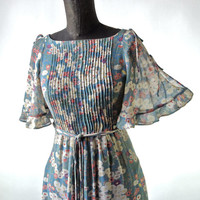 30's-60's Vintage Floral Sheer Cotton Voile Dress Teal, Eggplant, Green, Orange Flutter Sleeves size Small