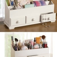 White 3 Drawer Desk & Makeup Storage Organizer