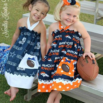 Girls Denver Bronco's Dress, Bronco's Football Game Day Dress, Baby Girls Cheerleader Dress, Sizes NB to 11/12