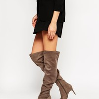 New Look Grey Stretch Over The Knee Heeled Boots