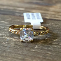 A Perfect 1CT Princess Cut 18K Gold Russian Lab Diamond Promise Engagement Ring