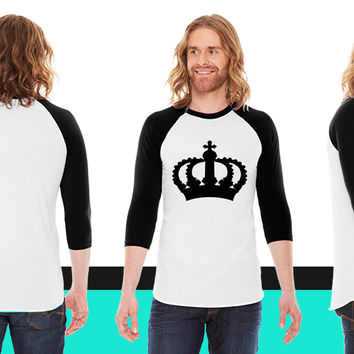 Keep Calm with this Custom Crown and Custom Text American Apparel Unisex 3/4 Sleeve T-Shirt
