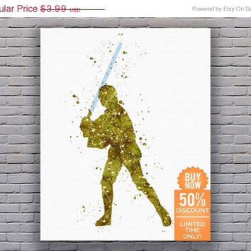 Star Wars Poster Luke Skywalker Star Wars Art Star Wars Artwork Star Wars Wall Art Star Wars Decor Watercolor Wall Art Digital Download Art