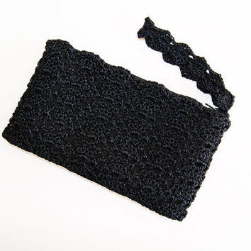 Pure Black Rectangular Crochet Clutch