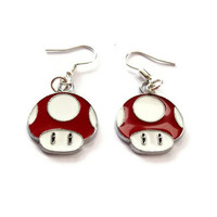 Mario Mushroom Earrings Red Enamel by KitschBitchJewellery on Etsy