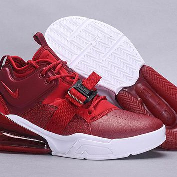 Nike Nike Air Force 270 Fashion Wine red and white Casual Leather Women Men Sneakers Sport Shoes Size 39-45