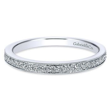 14K White Gold 1/5cttw Bead Set Diamond Wedding Band