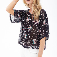 FOREVER 21 Floral Chiffon Boxy Top Navy/Pink