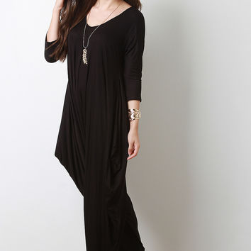 Quarter Sleeves Draping Sides Jumpsuit