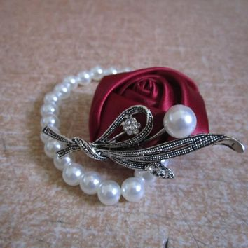 Bridal Hand Corsage, Flower Bracelet Prom Hand Flowers  Wedding Wrist Band, Wedding Gift