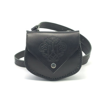 Crossbody bag, Medieval Leather Bag with embossing, Genuine leather Shoulder bag, Women's bag, Wedding Gift