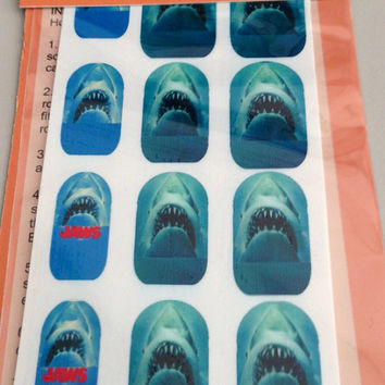 Nail Decals JAWS SHARK Week swim faster