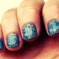 "Blue and Silver Glitter Nail Polish - ""Aquatic"" - Only One Coat Needed, Long Wear"