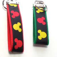 Mickey Mouse, Red Webbing, Key Fob, Key Chain