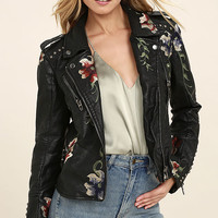 Blank NYC Black Embroidered Vegan Leather Moto Jacket