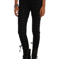 Royal Bones By Tripp Black Lace-Up Skinny Jeans