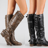New Distressed Knee High Riding Boots Zipper Buckle Strap Fashion Brown Black